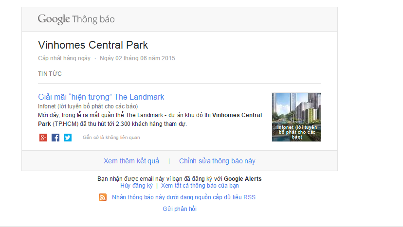 Một Email thông báo của Google về dự án Vinhomes Central Park