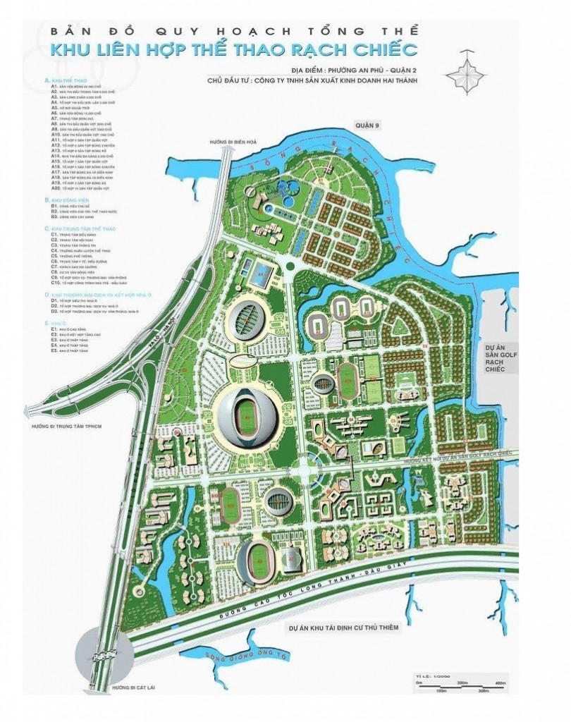 phoi canh tong the khu saigon sports city quan 2